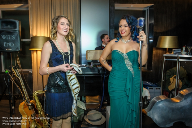Miss Art Deco ceremony,  Meghan Weatherby (left) and Kita St. Cyr. Photo by Jane Kratochvil.