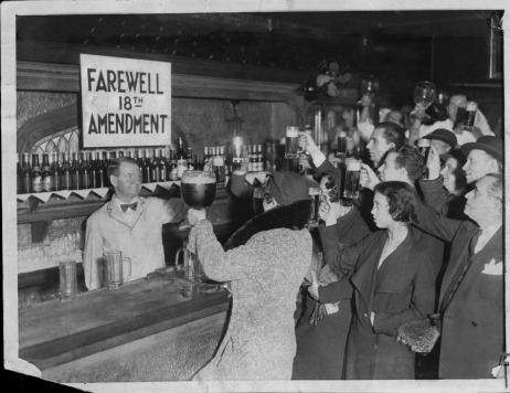 FILE PHOTO 1932 -- Speakeasy ( speak-easy ) patrons offer a farewell toast to Prohibition which took effect in December 1933.